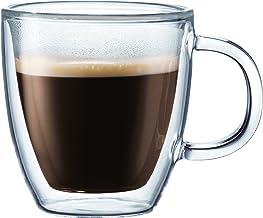 BODUM BISTRO Double-Wall Insulated Glass Espresso Mugs, 0.3L, Set of 2