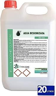 Ecosoluciones Químicas ECO-302 | 20 litros | Agua desionizada Ultra Pura| Agua desmineralizada