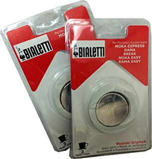 Bialetti® (2-Packs) of #06960, total of SIX replacement gaskets and TWO Bialetti® replacement filter plates (For 3-CUP Bialetti Moka Express, Dama, Break, Moka Easy & Dama Easy)