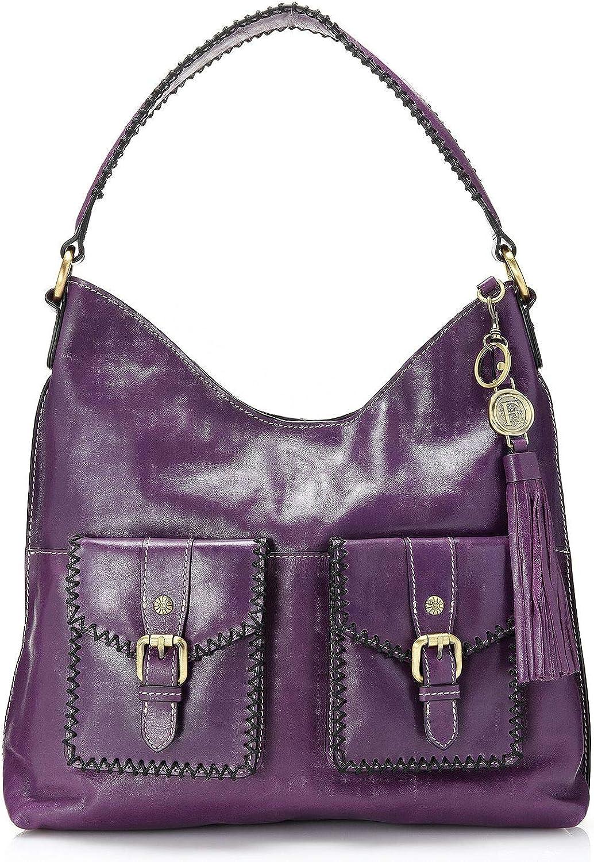 Firenze Bella Whipstitched Leather Dual Front Pocket Hobo Bag