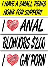 Work House Signs Set of 4 Prank Magnetic Bumper Stickers Magnets Funny Hilarious I Love Gay Porn