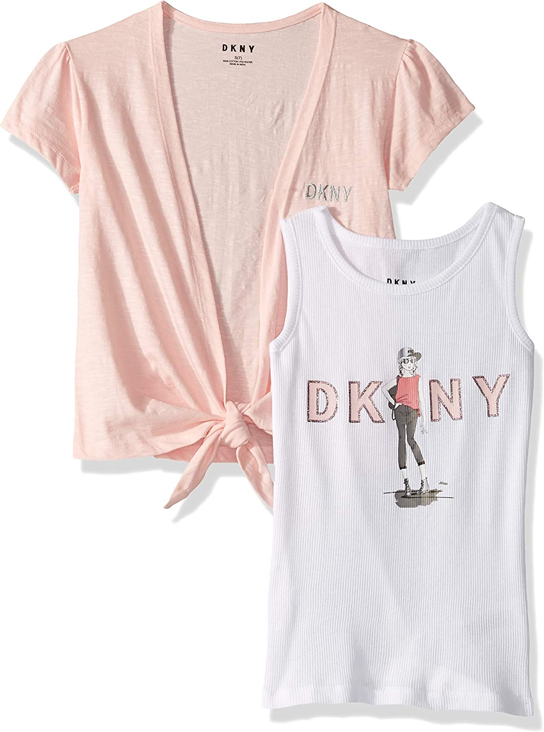 DKNY Girls Hooded Long Sleeve Lace Overlay Top