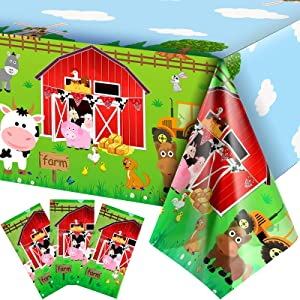 3 Pieces Farm Animals Party Tablecloth Farmhouse Disposable Plastic Table Cover Barnyard Farm Animal Theme Party Decorations for Picnics Baby Shower Boys Girls Birthday Party Supplies, 108 x 54 Inch