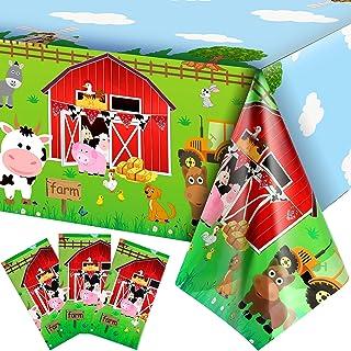 3 Pieces Farm Animals Party Tablecloth Farmhouse Disposable Plastic Table Cover Barnyard Farm Animal Theme Party Decoratio...