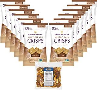 Crunchmaster Sea Salt Cracker Crisps 1.25 Ounce (Pack of 12) Grab & Go Single Serve Bags with By The Cup Snack Mix