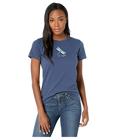 Life is Good Classic Dragonfly Crushertm Tee (Darkest Blue) Women