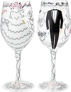 Enesco Designs by Lolita Wine Glass, Bride & Groom Set os 2, 15 oz