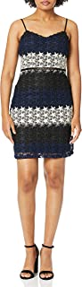 Bebe womens Multi-colored Star Lace Mini Dress Casual Night Out Dress