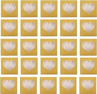 Lurrose 50Pcs Glitter Vazio Conjunto Recipiente de Armazenamento Caixa De Cílios Falsos Com Janela Transparente