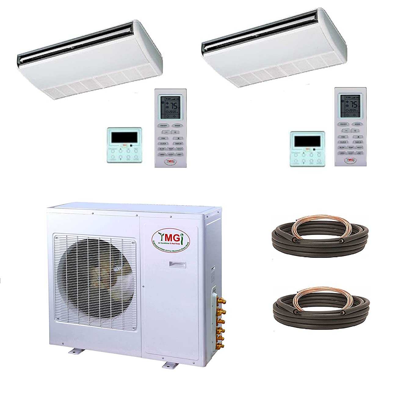 YMGI Dual Zone - 36000 BTU 3 Ton 21 SEER Ceiling Suspension Ductless Mini Split Air Conditioner with Heat Pump for Home, Office, Apartment with 25 Ft Lineset installation Kits