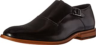 STACY ADAMS Men's Dinsmore Plain Toe Monk Strap Slip-On Loafer, Black, 7 M US
