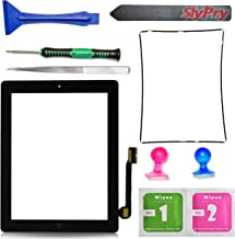 Prokit Adhesive Black Ipad 3 Digitizer Touch Screen Front Glass Assembly - Includes Home Button + Camera Holder + Frame Bezel + Preinstalled Adhesive + Cleaning Kit with Slypry Premium Tool Kit