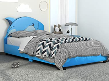 mecor Children Toddler Bed - Twin Size Faux Leather Upholstered Platform Bed Frame with Curved Headboard / Blue Dophin Kids B