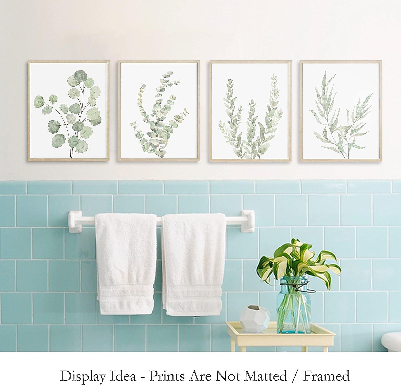 Botanical Boho Bathroom Decor Wall Art, Sage Green Plants Decor for  Bedroom Office, Minimalist Eucalyptus Leaves Watercolor Art Prints, Set of  20 ...