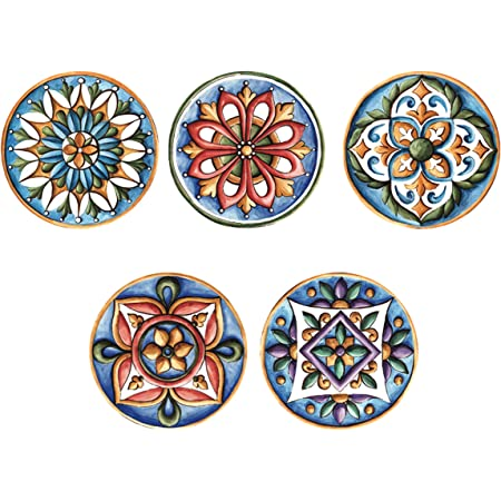"""Block Décor Real Art Wall Hanging Plate 7""""   5 Pcs   Fine Bone China   Gift Packing"""