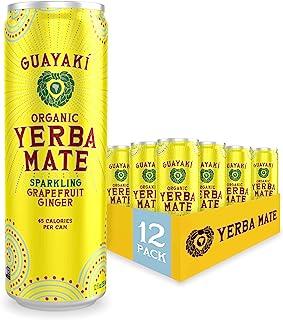 Guayaki Yerba Mate | Organic Alternative to Herbal Tea, Coffee and Energy Drink | Sparkling Grapefruit Ginger | 80 mg of C...