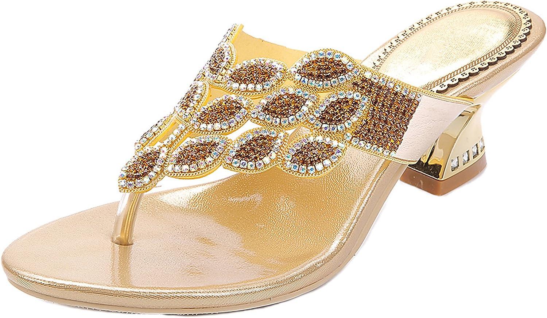 LizForm Glitter Rhinestone Thong Strap Sandals Sweet Sandal gold Chunky Low Heel