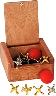 WE Games Old-Fashioned Metal Jacks in a Wooden Box