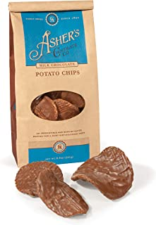 Asher's Chocolate Company, Delicious Chocolate Covered Potato Chips, Made from the Finest Kosher Chocolate, Family Owned Since 1892 (8.5oz, Milk Chocolate)