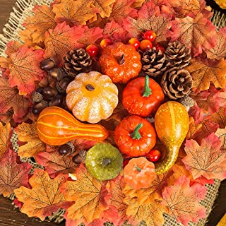 Amandir 182 Pcs Fall Decor for Home, Mini Artificial Pumpkins Decor Fake Maple Leaves Pine Cones Acorns Pomegranate for Thanksgiving Table Decorations Halloween Christmas Party