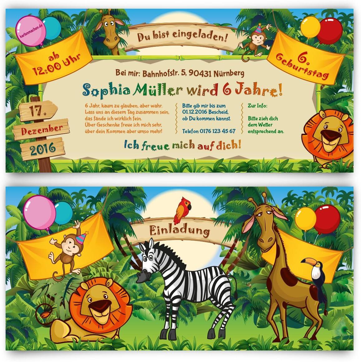 Zoo-Tiere auf der Arche Noah 6 lustige Einladungskarten zum Kindergeburtstag