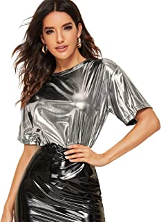 Verdusa Women's Round Neck Short Sleeve Metallic Clubwear Tee Top