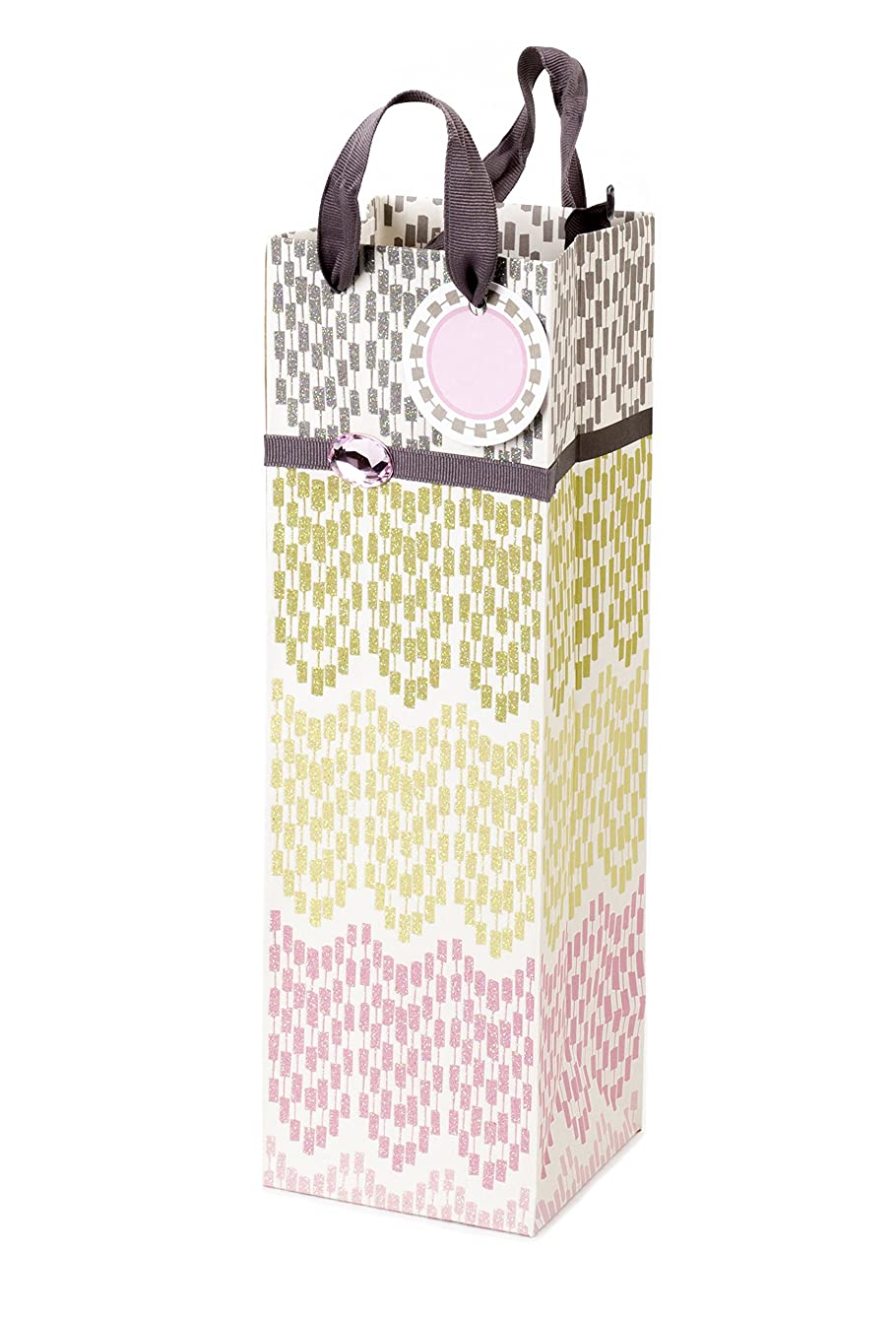 Hallmark Bottle Gift Bag for Wine, Olive Oil and More (Colorful Lace Pattern)