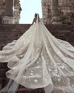 QING XIN-1225 Abiti da Sposa di Lusso in Rilievo da Sposa in Pizzo a Maniche Lunghe 3D Floreale Wedding Abito da Sposa Abi...