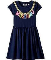Moschino Kids - Short Sleeve Logo Necklace Graphic Dress (Little Kids/Big Kids)