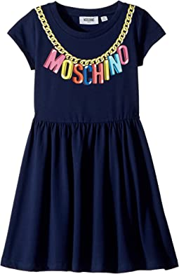 Moschino Kids Short Sleeve Logo Necklace Graphic Dress (Little Kids/Big Kids)
