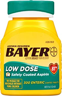 Aspirin Regimen Bayer 81mg Enteric Coated Tablets | #1 Doctor Recommended Aspirin Brand | Pain Reliever |300 Count