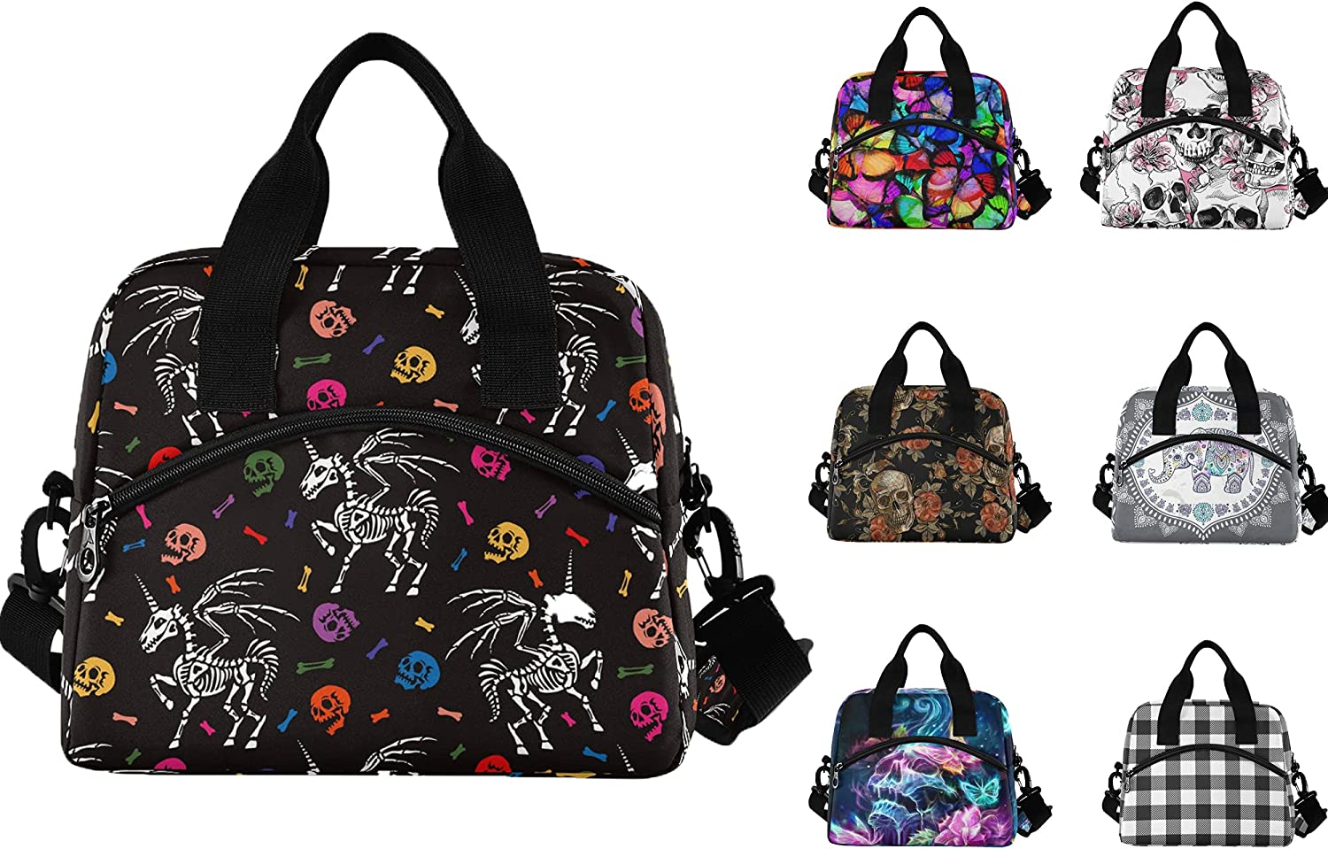 Unicorn Skull Lunch Bags for Skeleton with Cheap mail Quality inspection order sales Women Containers Men