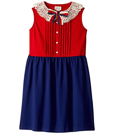Gucci Kids Cotton Piquet w/ Macro Collar Dress (Little Kids/Big Kids) (Red/Orange) Girl