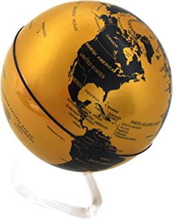 Self Rotating Globe - Auto Spinning Desk Rotary Globe with Color Changing LED- Revolving Globe - World, Planet Earth Globe Sphere - Home, Office Desktop Decoration - Educational (Gold/Black, 4