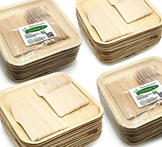 "Holiday Party Dinnerware Eco Set of 300 Eco-Friendly Dinnerware - 100 Disposable 10"" Square Palm Leaf Plates, 100 Wood Forks, 100 Wood Knives"