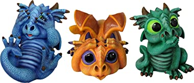World of Wonders - Dreamland Dragons Series - Trio of Trouble - Set of Three (3) Collectible See Hear Speak No Evil Dragon Fi