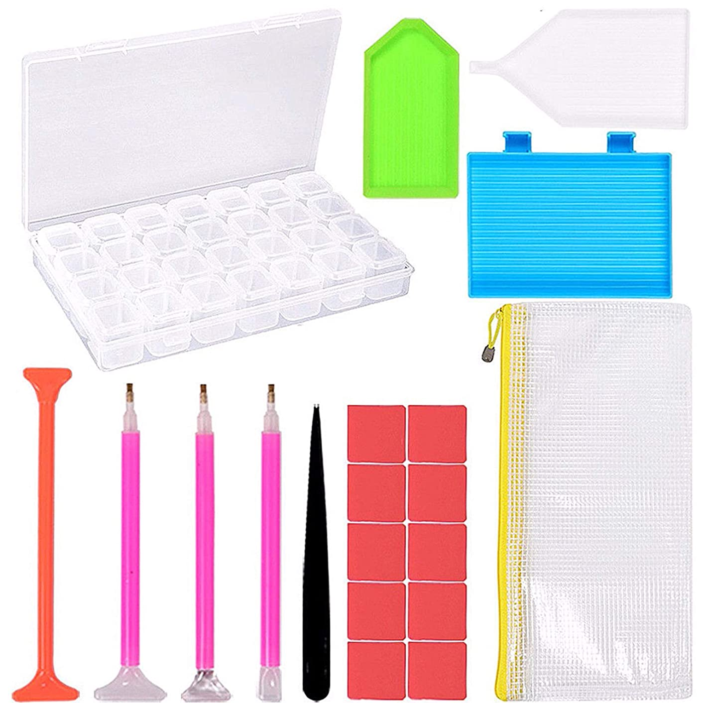 20 Pieces Diamond Painting Tools 5D DIY Diamond Painting Accessories Diamond Cross Stitch Kits with 28 Slots Diamond Embroidery Box for Adults or Kids (20pc Set)