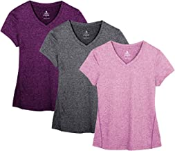 icyzone Dames sport fitness T-shirt korte mouwen V-hals loopshirt Shortsleeve Yoga Top 3-pack