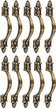 KLAXON G0213IT0032-10P Brass Classical Rajwadi Brass Decorative Door/Cabinet/Drawer Pull Handle-4 Inches (Brown, Antique Finish, 10-Pieces)