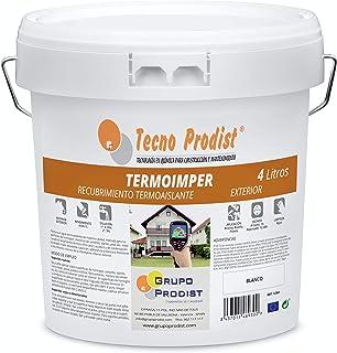 TERMOIMPER de Tecno Prodist - 4 Litros (BLANCO ÓPTICO) Pintura al agua Aislante Térmico - Exterior, paredes, techos y Fachadas - Aísla del calor y el frío (A Rodillo, Brocha, Pistola)