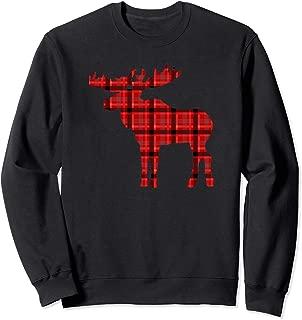 Plaid Moose Sweatshirt Christmas Holiday Deer Men Women