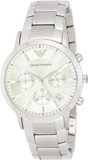 Emporio Armani Men White Stainless Steel Casual Watch - Ar2459, Silver Band, Chronograph Display