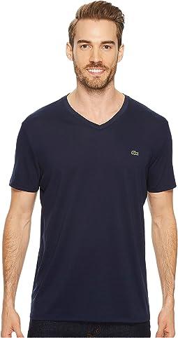 Short Sleeve V-Neck Pima Jersey Tee