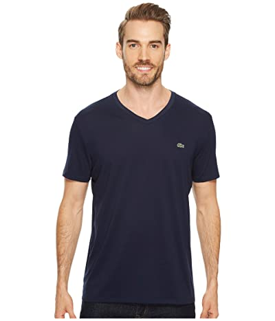 Lacoste Short Sleeve V-Neck Pima Jersey Tee (Navy Blue) Men