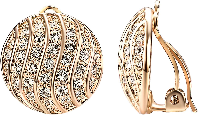 Yoursfs CZ Pink Flower Clip on Earrings for Women Fashion 18k Rose Gold Plated Enamel Clipon Earrings Non Pierced Ears for women