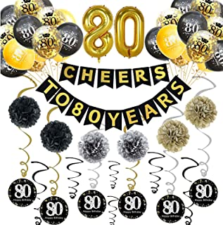 Trgowaul 80th Birthday Party Decorations Kit- Gold Glittery Cheers to 80 Years Banner, Poms, 12Pcs Sparkling 80 Hanging Sw...