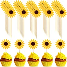 60 Pieces Sunflower Cupcake Toppers Cupcake Desserts Toppers Sun Flower Party Topper for Party Cake Decoration Supplies