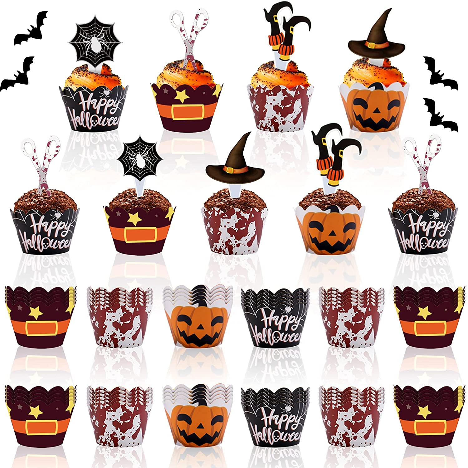 BigOtters 96PCS Halloween Cupcake Popular standard Toppers Limited price Pumpkin Spid Wrappers