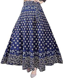 UrbanEra Sanganeri Jaipur Print Cotton Blue Wrap Round Skirt - Free Size