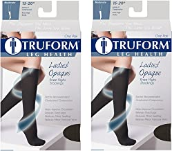 Truform Compression 15-20 mmHg Knee High Stockings Black, Small, 2 Count